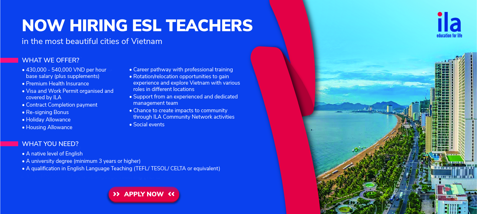 Get your ESL job at ILA Vietnam