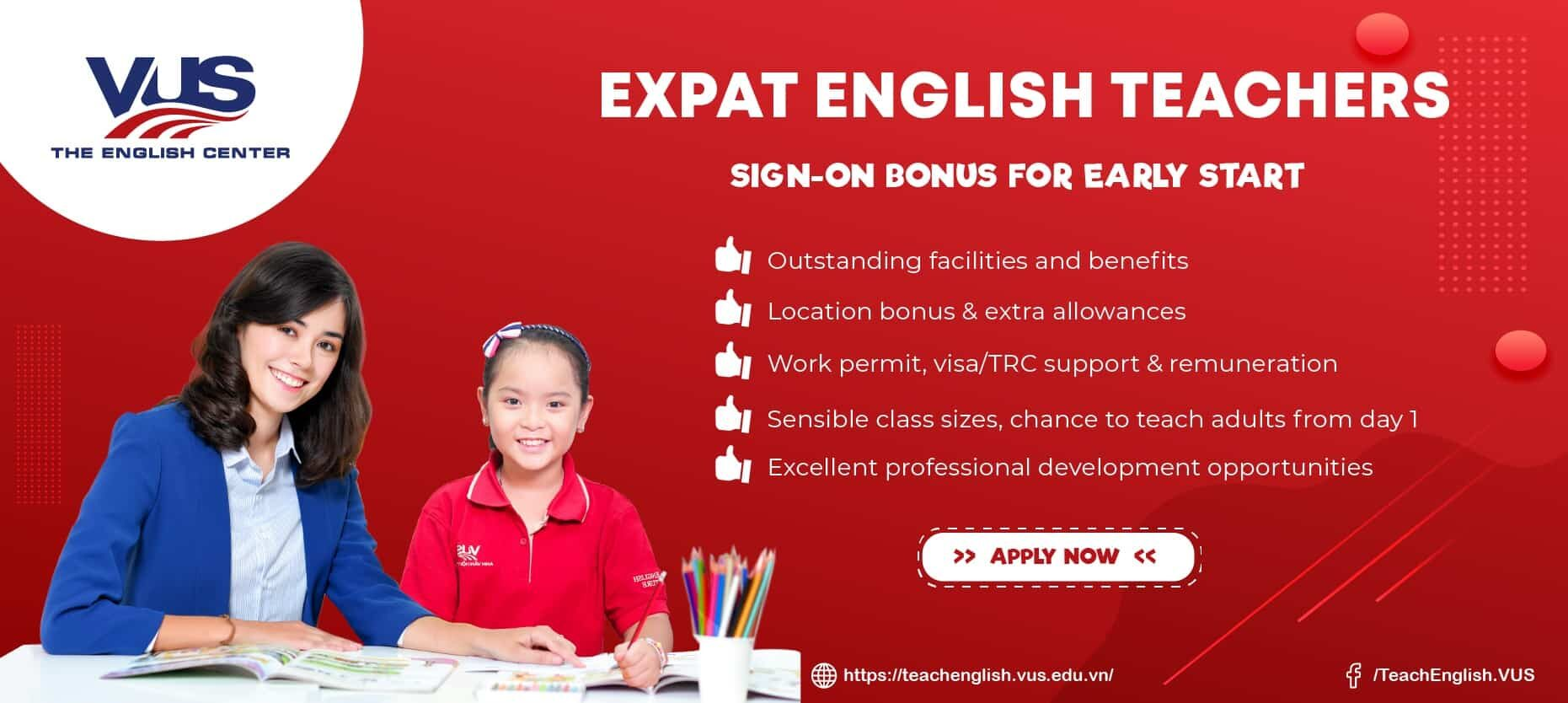 EXPAT ENGLISH TEACHERS for HCMC, Dong Nai, Binh Duong - Sign-on Bonus for October!