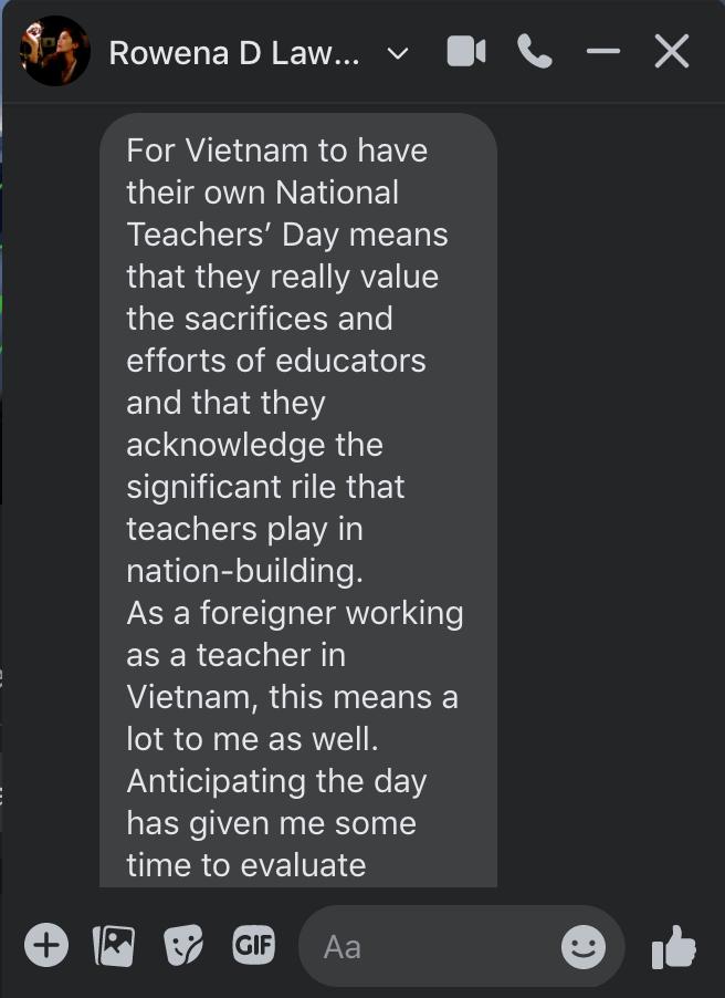 Rowena's feeling about Vietnamese Teacher's Day
