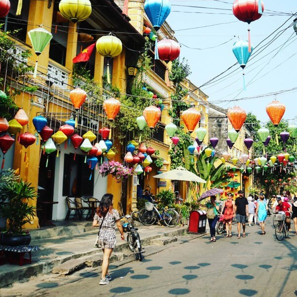The ancient streets of Hoi An are covered with hanging lanterns