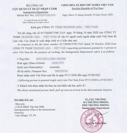 Mẫu công văn nhập cảnh cho người nước ngoài