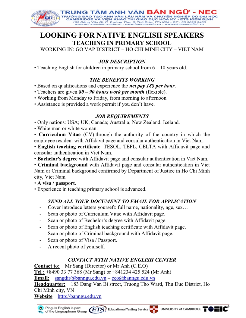 Description  English Teacher Job Description
