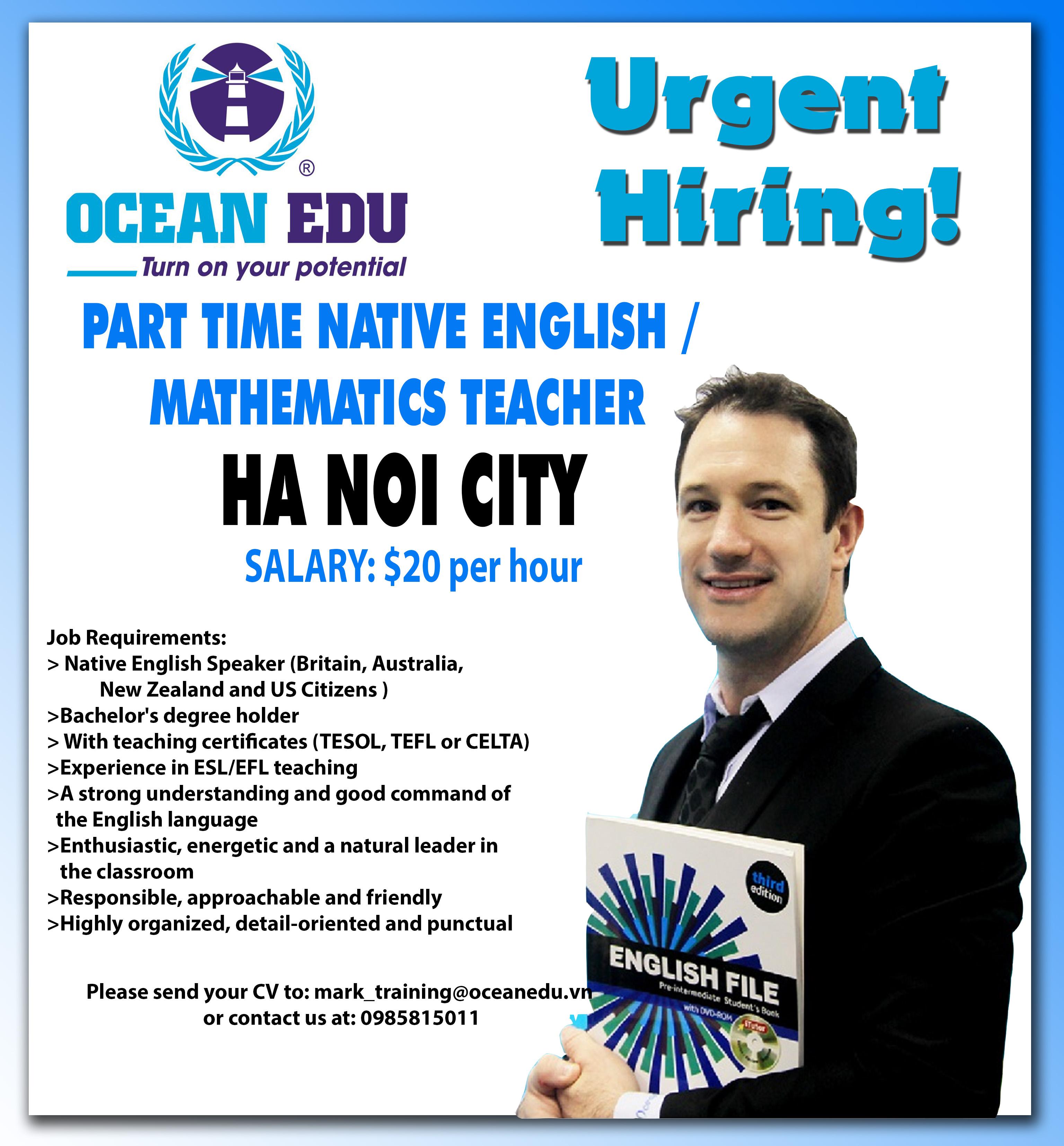 Urgent Hiring Part Time Native English Amp Mathematics